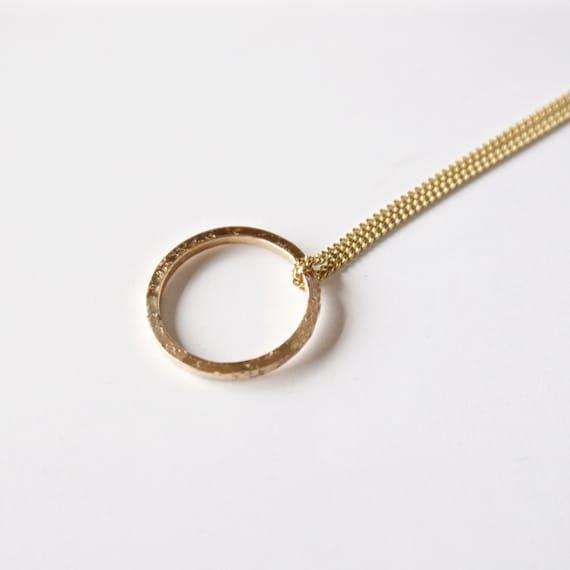 Gold Circle Pendant Necklace - 18 Carat - Hammered Organic Texture