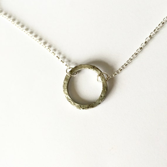 Circle Necklace - Unisex Silver Necklace - Distressed Hammered