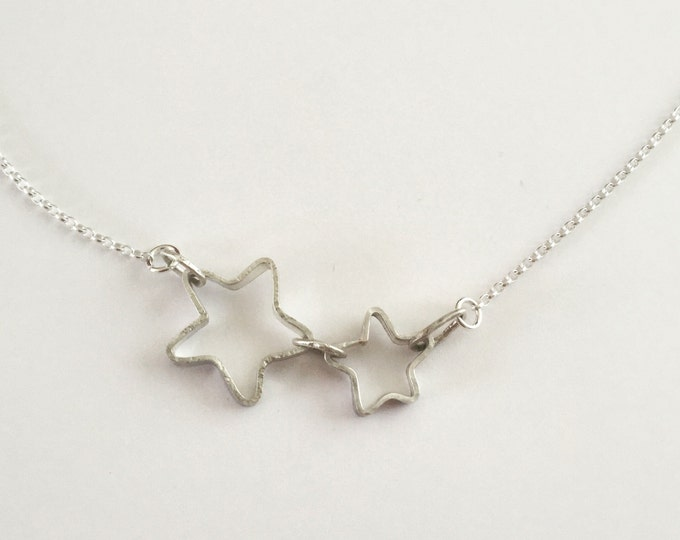 Two Silver Stars Necklace - Linked Stars Pendant - Interlocking Stars - Joined Silver Stars - Recycled Sterling Silver