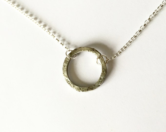 Circle Necklace - Unisex Silver Necklace - Men's Jewellery - Eco-friendly - Rough Textured Distressed Hammered