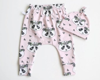 Pink baby harem pants and knot hat set with pandas. Organic jersey knit. Knotted hat and leggings. Baby gift
