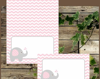 Pink Elephant Food Tents, Printable Food Labels, Instant Download, Elephant Baby Shower Foldable Place Cards, Printable Buffet Labels