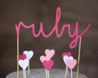 Names & hearts cake topper kit