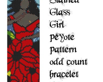 Peyote Pattern for bracelet: Stained Glass Girl - INSTANT DOWNLOAD pdf