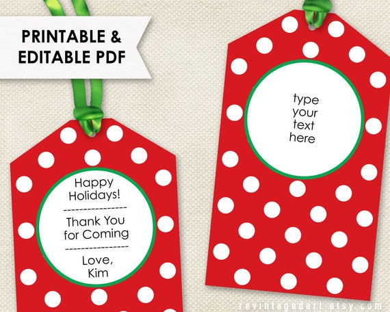 Printable Christmas Tags // Editable Holiday Tags PDF
