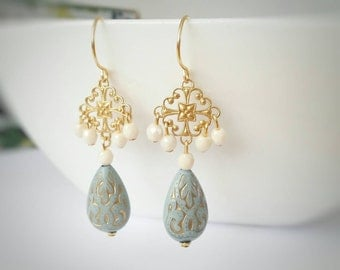 Gold dangle earrings, gold drop earrings, light blue earrings, long gold earrings, gold chandelier earrings, beaded earrings, gift for her
