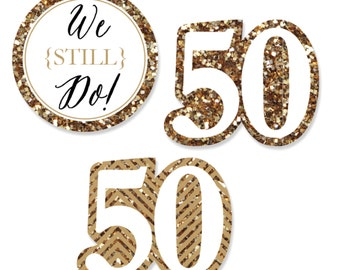 24 pc. Small We Still Do - 50th Wedding Anniversary Shaped Paper Cut Outs - Anniversary Die Cut Party Decoration Kit