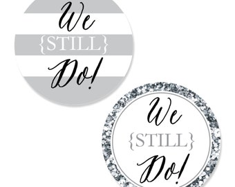 24 pc. Small We Still Do - Custom Wedding Anniversary Shaped Paper Cut Outs - Anniversary Die Cut Party Decoration Kit