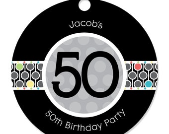 50th Birthday Personalized Party Tags - Birthday Party DIY Craft Supplies- 20 Count