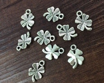 40pcs Antique Silver Four Leaf Clover  Charms  Diy Accessories Gift For Her
