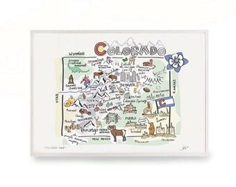 "Colorado Art, 9""x12"" Colorado Map, Colorado Print, Unframed, Print Signed by Artist, Printed on watercolor paper"