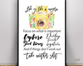 Life is like a camera, gifts for her, Easter basket filler for teens, photography quotes, quote about cameras, positive quote, floral camera