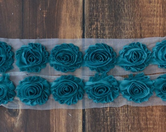 2.5 inch Shabby Chiffon Flowers Wholesale, Flowers for Shabby Chic Headbands, Shabby Flowers By the yard, 1/2 yard or 2 flowers, Teal