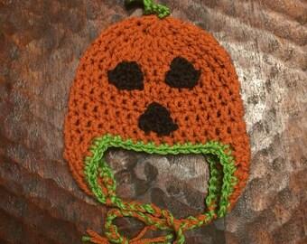 Jack-o-Lantern crochet hat - toddler - halloween - pumpkin - costume