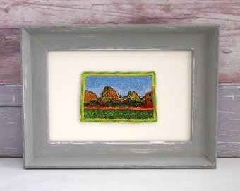Original Embroidery, Lincolnshire landscape, Autumn trees, Unique Gift, Contemporary textile art, Handpainted frame