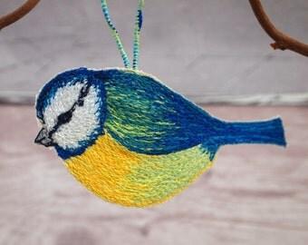 Hanging bird, Stitched blue tit, Bird hanging decoration, Handmade Blue Tit, Bird decoration