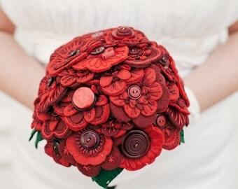 Red Felt Flower Button Bouquet / Wedding Flowers / Bridal Bouquet / Bridesmaid Bouquet / Flower Girl Bouquet / Floral Gift