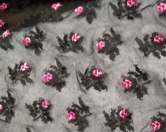 "Stretch Spandex Lycra Mesh Fabric - 4-way stretch black mesh with fuchsia pink embroidered roses fabric - 42"" wide"
