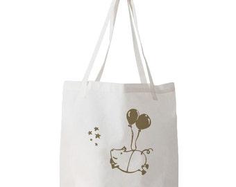 Happy Flying Pig Tote Bag