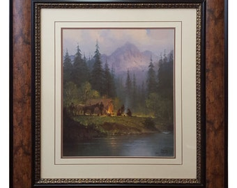 Camp in The Tetons By G. Harvey Framed Print Signed & Numbered - Limited Edition Professionally Framed
