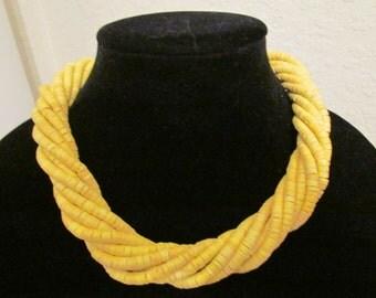 Vintage Sunrise Tribal Multistrand Wood Bead Necklace