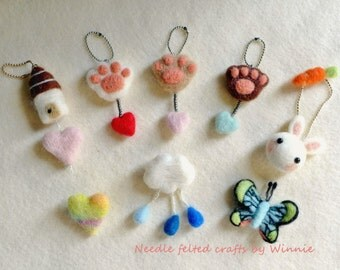 Needle felted charms and brooches- Pretty Little things (Each sold individually)