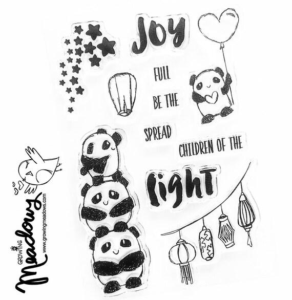 Final Stock! Panda Joy Spread light Children chinese lanterns Stamps Faith Christian Stamping Bible Journaling Growing Meadows Tai Bender