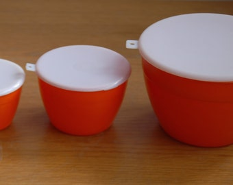 Set of Three Orange Tupperware Style Storage Bowls/Tubs  Midcentury Made in England-1970s Plastic Trio- Camping VW
