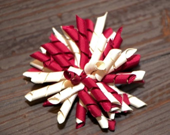 Wine and Ivory Korker Hairbow