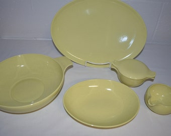 SET of 5 Accessory Serving Pieces - Pebbleford - Taylor Smith & Taylor - SUNBURST Speckled Yellow - Platter Bowl Casserole Creamer Sugar