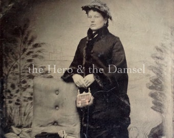 In Her Going-Out Attire // Tinted tintype of pretty woman in coat // Antique photo of elegant lady holding purse, beautiful hands tintype