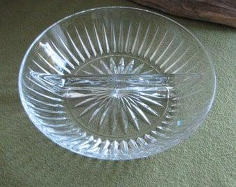 Vintage Round Crystal Divided Bowl Starburst Design