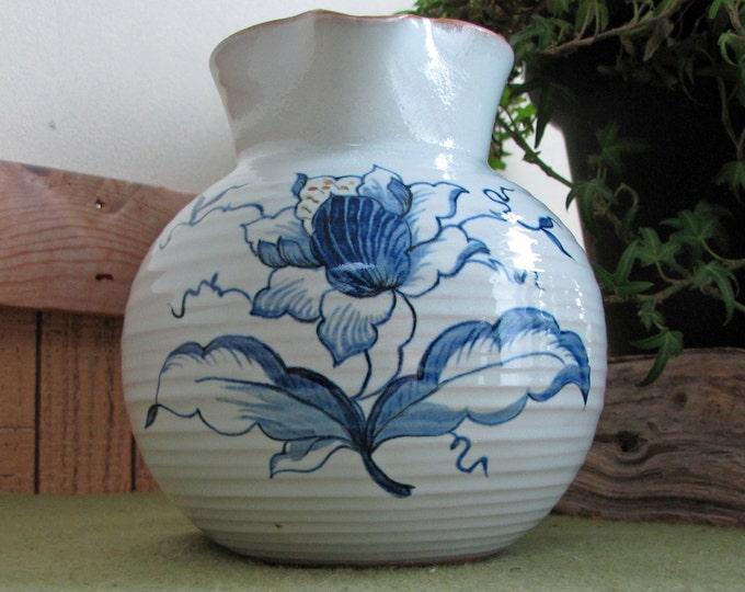 Vintage Clay Pitcher Blue & White Creamer Hand Thrown Cream Pitchers Home Decor