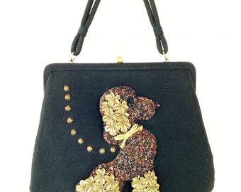 Vintage 1950's Black Beaded POODLE Wool Handbag/ Purse