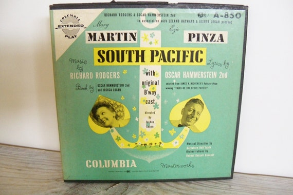 Vintage Record South Pacific Mary Martin Ezio Pinza Rodgers and Hammerstein Original Cast 45 RPM Columbia Boxed 4 Record Set 1940s No A850