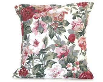 18 x 18 pillow cover, Floral cushion cover, vintage cushion cover, in trend pillow, vintage pillow, floral pillow, vintage fabric