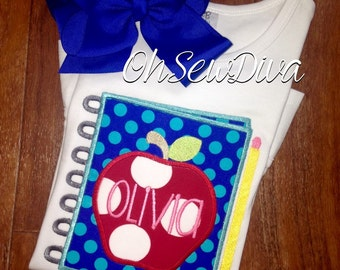Apppe Notebook Applique Monogran Personalized Shirt; Girls or Boys