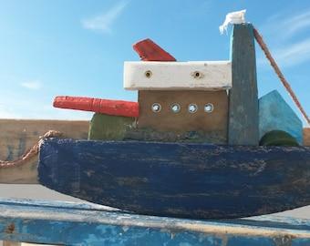 Driftwood Boat,  Recycled Wood Boat, Blue Boat, Nautical Decor, Driftwood Art, Big Boat, Recycled Wood, Fishing Boat, Nautical Gift.