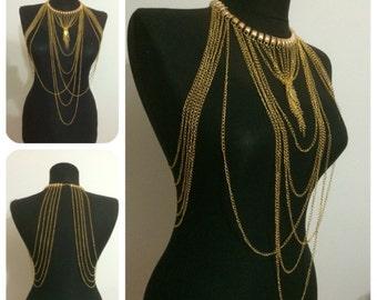 gold body necklace, body harness, body jewelry, body chain, mk*57