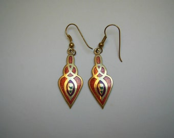 Vintage Art Nouveau Style  Red Enamelled Drop Earrings for Pierced ears circa 1980