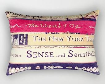 Classic Books Rectangular Pillow: PILLOW INSTERT INCLUDED - library, bedding, books, Jane Austen, Bronte, Wizard of Oz