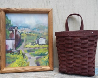 Original Art Abstract Barn Oil Painting and Shaker Basket!