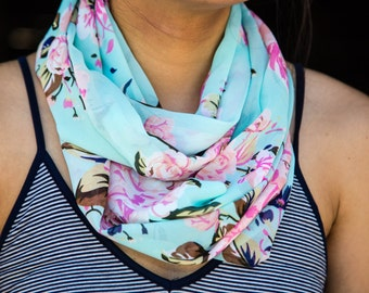 Sheer Light Blue with Pink, Green, Light Pink Floral Pattern Infinity Scarf