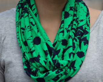 Dark Blue and Bright Green Floral Pattern Infinity Scarf (Cowl)