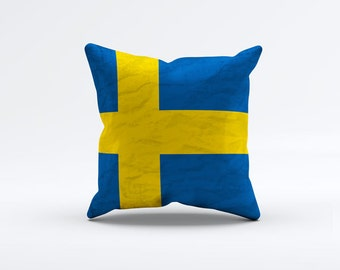 Flag of Sweden Throw Pillow Cover 15 x 15 inch