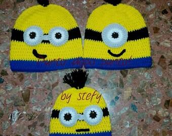 Despicable me Minion Beanie-crochet, handmade.  Despicable Me minion-crochet hat.