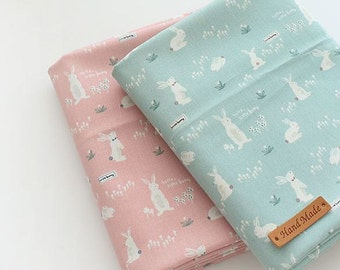 Sweet Rabbit Pattern Cotton Fabric by Yard - 2 Colors Selection