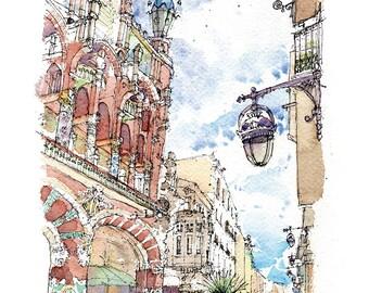 Palau de la Música PRINT / Lluís Domènech i Montaner. El Born, Barcelona / drawing Barcelona