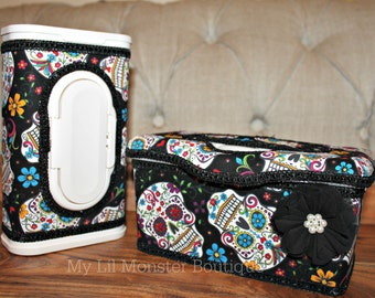 Sugar Skull wipe case/ custom wipe case/ nursery wipecase/ skulls/ baby shower gift/ sugar skulls