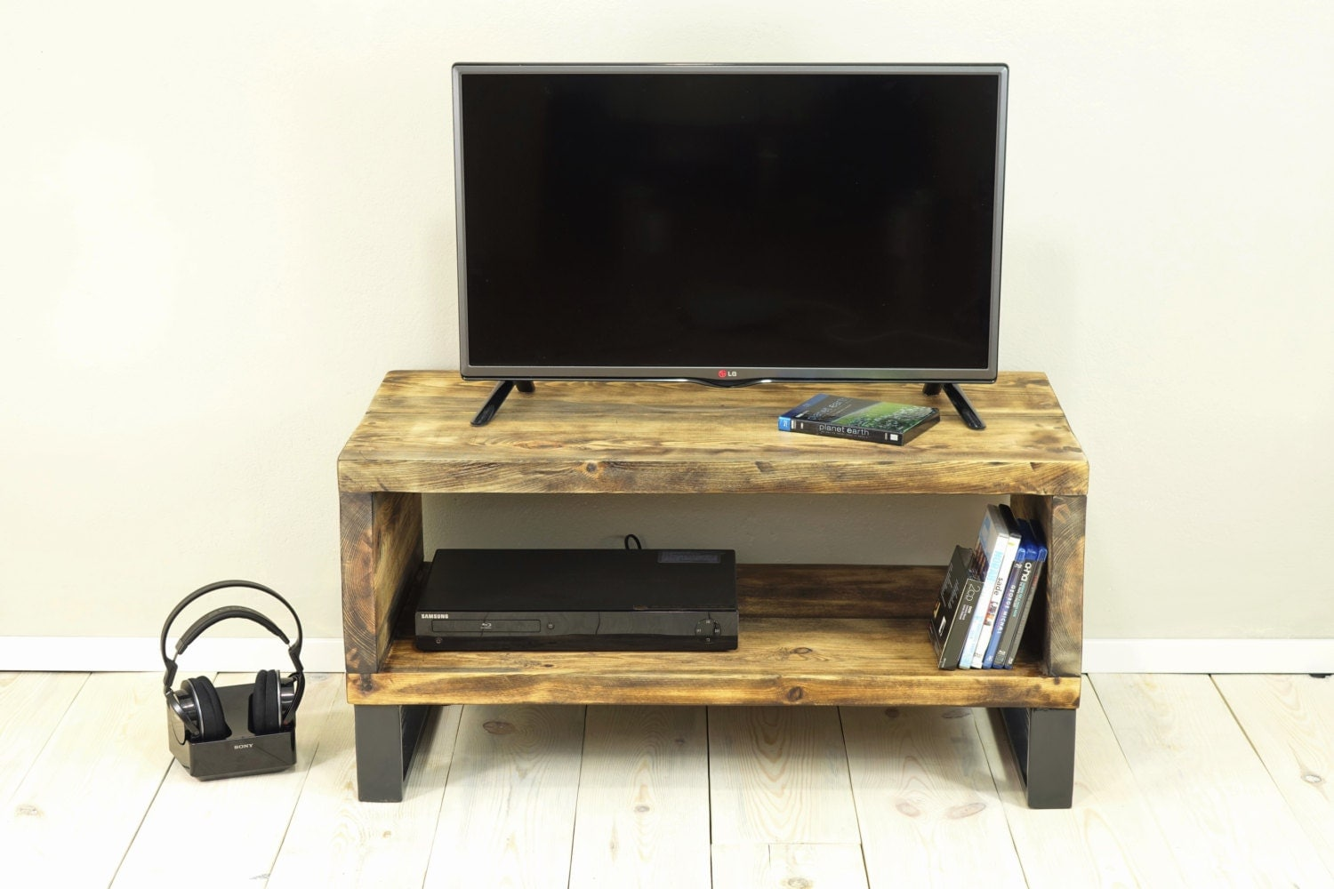 Box Console Table ~ Reclaimed wood media console box stand wooden